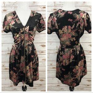 MINKPINK Velvet Floral Zip Dress Sz M ::JJ9